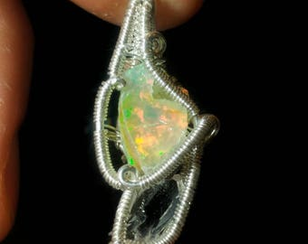 Wire Wrap Opal and Quartz Pendant