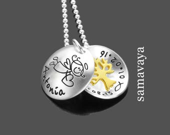 Christening jewellery engraving BLESSINGS Messenger tree 925 Silver Chain gift guardian angel