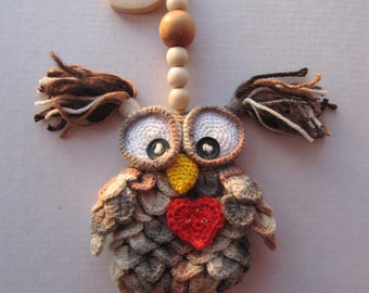 Decor owl pendant Love Suspended Owl Home decor handmade crochet cute owl valentines gift for her funny owl stuffed wood beads gift idea