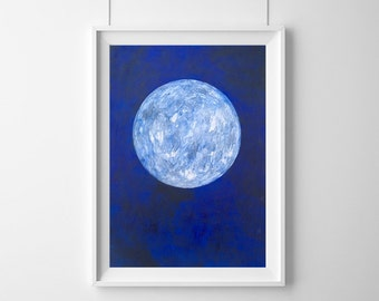 Original Abstract Moon Painting on A3 Paper, Lunar Painting, Full Moon, Minimalist, Blue, Modern Art, Australian Artist