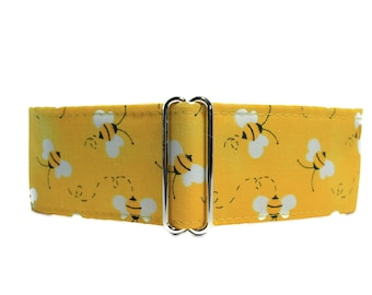 Bumble Bee Martingale Collar, 1.5 Inch Martingale Collar, Bumble Bee Dog Collar, Yellow Dog Collar, Greyhound Collar, Sighthound Collar