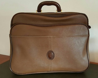 TRUSSARD travel bag in leather and canvas, classic from the  80's