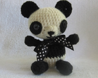 Crochet Black and White Panda Bear Small Stuffed Animal Baby Shower Gift or Christmas Present Affordable Free Shipping Whimsical Toy