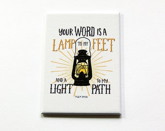 Inspirational Magnet, Psalm 119:105, Magnet, ACEO, Fridge magnet, Inspirational, Inspiring, Your word is a lamp to my feet (5899)