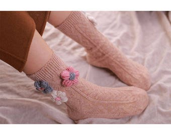Warm hand knit floral socks, your best friends in winter