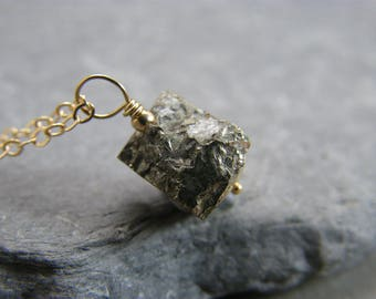 Pyrite stone necklace ~ Raw gemstone pendant necklace ~ Necklace gift for girlfriend gold ~ Gold gemstone necklace gift for her ~  Pyrite ~