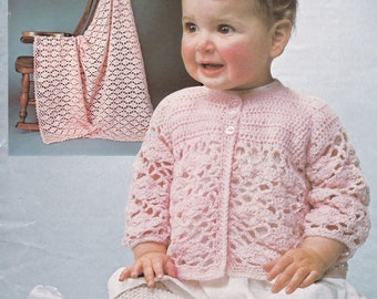 PDF baby crochet matinee jacket pattern with shawl vintage crochet pattern INSTANT download baby pattern only