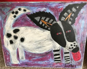 Dog Painting Abstract Folk Art on Canvas Artist Signed