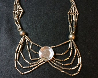 Vintage Necklace, Large Center Reflective Stone, Multiple chains