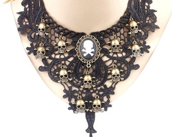 Black Gothic Choker Victorian Necklace Venise Lace with a Skulls in the Color of Old Gold Steampunk Goth Wedding Jewerly