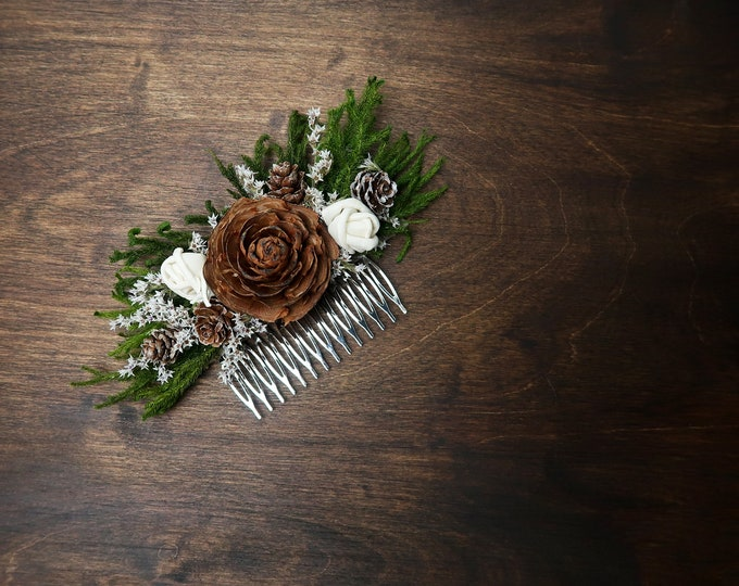 Green brown  HAIR COMB cedar rose ivory sola flowers rustic woodland wedding, burlap hair piece, bridal accessory, custom, dried flowers
