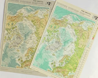 Vintage Arctic map, Large Map of The Arctic Ocean - map for explorers