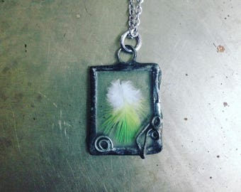 Green Feather Necklace Bird Lover Jewelry