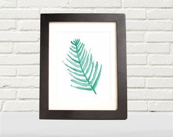 Green leafy branch watercolor print- digital download