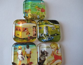Fun Camping and Beach Themed Square Glass Magnets Set of 5