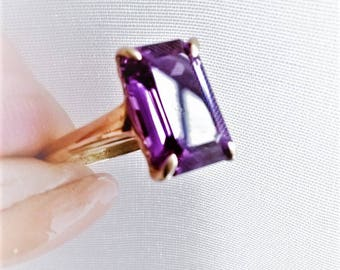 SALE Dramatic Color Change Alexandrite Solitaire Ring Grape to Magenta 6 Ct Emerald Cut Stone 14K Rose Gold! June Birthstone Vintage Estate
