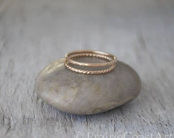 2 Gold Stacking Ring Set - 14k Gold-Filled Stack Rings - Handcrafted Rings - Skinny Gold Fill Ring Stack Set