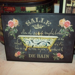 Salle De Bain Large Chalkboard Look Bathroom Plaque,Paris Decor,French Decor ,Paris