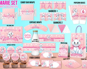Marie Aristocats Party kit for download, Marie Aristocats party supplies, Marie Aristocats party printables, Marie Aristocats birthday