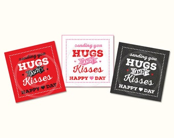 Valentine's Favor Tags, Candy Kiss Tag, Printable, Instant Download, 2.25 x 2.25,