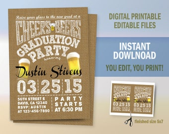 Graduation Invitation, Canvas Graduation Party Announcement, Digital Files to Print, Instant Download, Edit with Adobe Reader