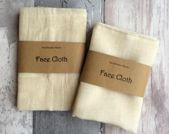 Wash Cloth - Unbleached Cotton/Organic Cotton Muslin - Organic - Face Cloth - Eco - Cleansing