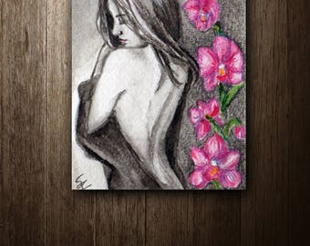 ACEO Original watercolor painting - Orchid