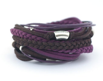 Purple Chocolate Brown Men's Bohemian Bracelet, Violet Brown Men's Leather Bracelet, Men's Hippie style Jewelry, Mens Bohemian Jewelry. gift
