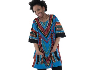 Africa Traditional Heart Of Africa Dashiki - Blue