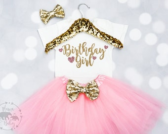 Baby Girls Birthday Girl Outfit, Birthday Girl Onesie, first Birthday Onesie, First Birthday Outfit, Pink and Gold Birthday Onesie