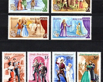 1967 Hungary set of 8 single stamps Scott #1848-55 MNH World Famous Operas composers Wagner Verdi Bizet Bartok Mozart Weber Borodin Erkel