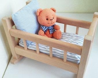 """Baby doll crib doll crib bedding rocking wooden doll crib 8"""" 15"""" doll cradle doll cot bedding organic toy doll furniture solid wood organic"""