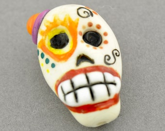 Day of The Dead Sugar Skull Lampwork Glass Bead