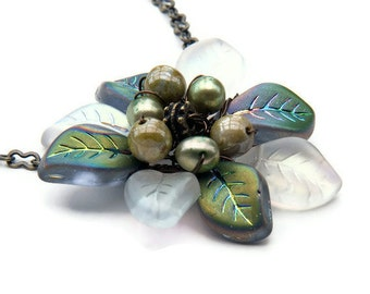 Gray Green Flower Necklace, Pendant Necklace, Leaf Necklace,