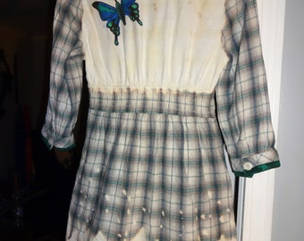 Up-cycled Plaid Dress, Women's Small