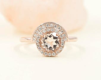 14k Rose Gold Morganite Engagement Ring. 0.28 ct High Quality Diamond.Morganite Engagement Ring.Natural Morganite High Quality Diamond Ring