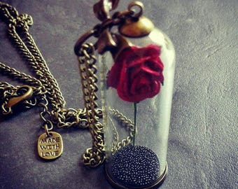 Beauty And The Beast Enchanted Rose Necklace