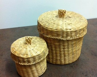 Vintage Sweet Grass Baskets - Stackable Basket - Hand Woven Baskets with Lids