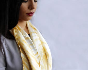 delicate light and soft silk scarf, hand dyed with natural tint with the arashi shibori technique/yellow/100%silk/55x18 in