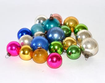 22 Vintage for Feather Tree Mercury Glass Christmas Ornaments, Mixed Lot, Assorted Multi Colored