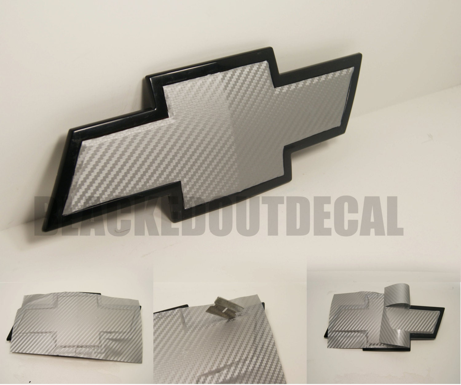 All Chevy black chevy symbol : 2 Silver Carbon Fiber Chevy Bowtie Vinyl Overlay Sheets Emblem