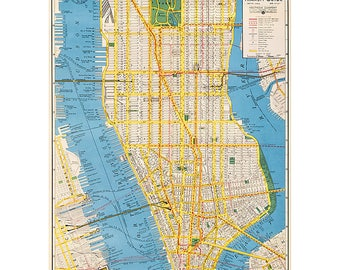 Vintage New York Transit & Housing Map Wrapping Paper by Cavallini to Frame or Wrap, Book Binding, Collage, Scrapbook, Paper Arts PSS 3439