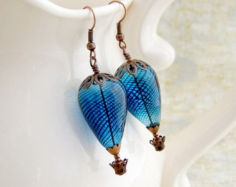 Blue Hot Air Balloon Earrings - Copper baskets with blown glass beads - Steampunk Earrings