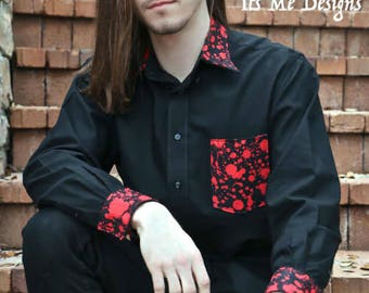 blood splatter Dracula mans button down dress shirt size medium Its Me Designs rocker stage wear up-cycled goth fashion tattoo macabre