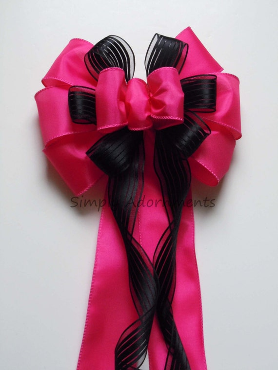Fuchsia Pink and Black Wedding Pew Bows Black Pink Bridal Shower Bows Birthday Decorative Bows Packaging Gifts Bows