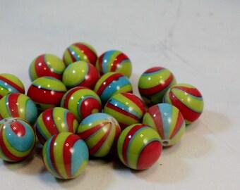 Yellow, Orange and Blue Swirled Stripes Printed Acrylic Beads, 16mm round, Wholesale Beads