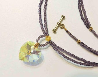 Swarovski Yellow Crystal Heart Pendant Necklace Purple Seed Bead Accents
