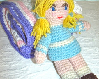 Vintage Crochet Doll with Wrap Afghan. Small Girl Doll with Blonde Locks and Baby Afghan.