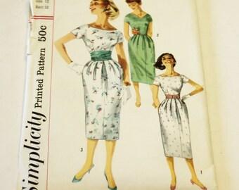 Simplicity 2025: Jr. Misses' and Misses' One-Piece Dress with 3 Necklines and Cummerbund Size 12 UNCUT
