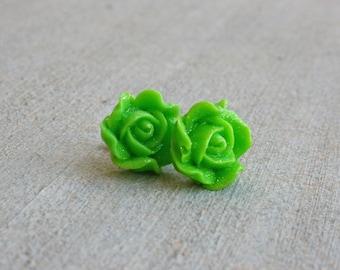 Green Sparkle Rose Earrings
